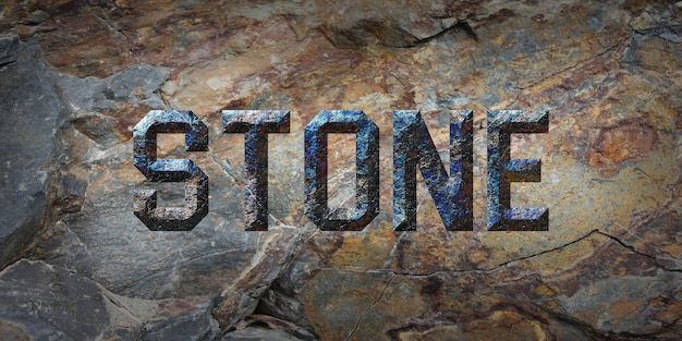 Rustic grunge  stone text style effect