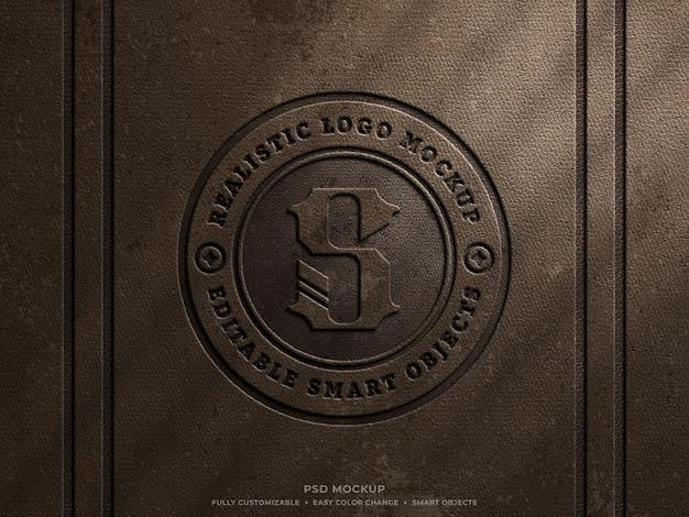 Rustic grungy leather pressed logo mockup on old brown leather vintage engraved logo mockup