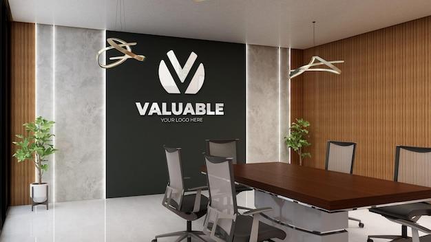 Макет логотипа стены конференц-зала в деревенском стиле