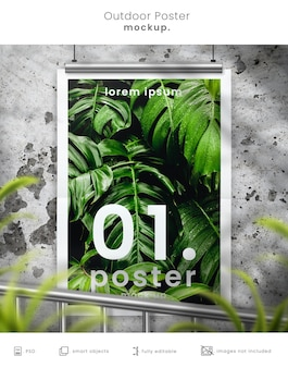 Rustic outdoor movie poster mockup on concrete wall with leafy overlay