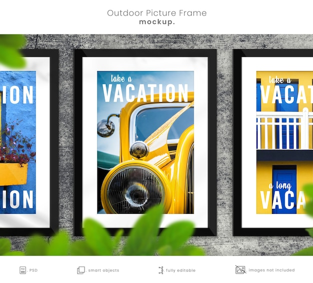 Rustic outdoor picture frame mock up of three frames on concrete wall with leafy overlay