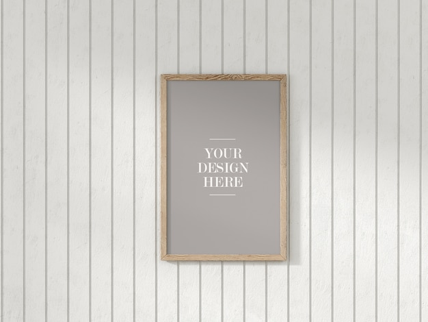 Rustic picture frame mockup on white wooden wall