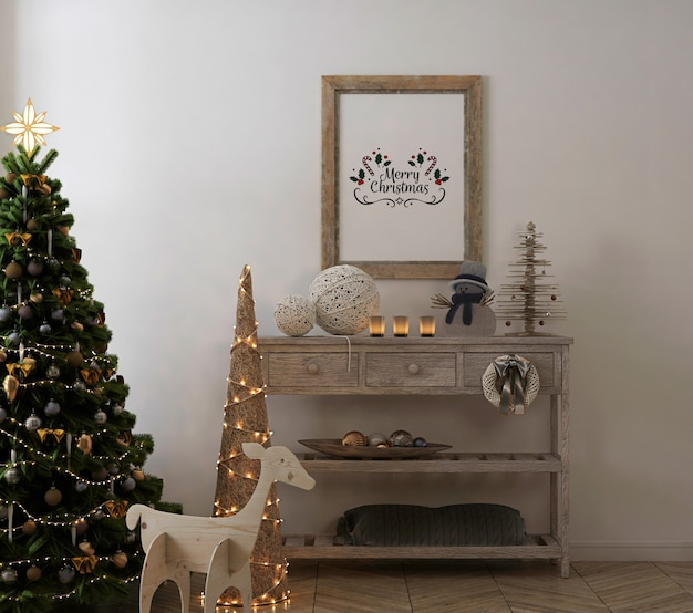 クリスマスツリーと装飾が施されたヴィンテージインテリアの素朴なポスターフレームのモックアップ