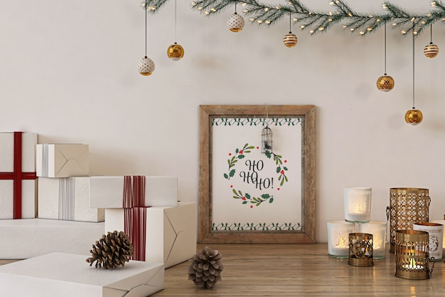 Rustic poster frame mockup with christmas  decoration and presents