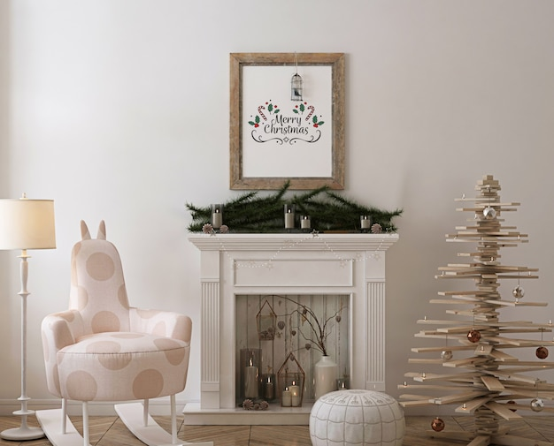 Rustic poster frame mockup with wooden christmas  tree, decoration and presents