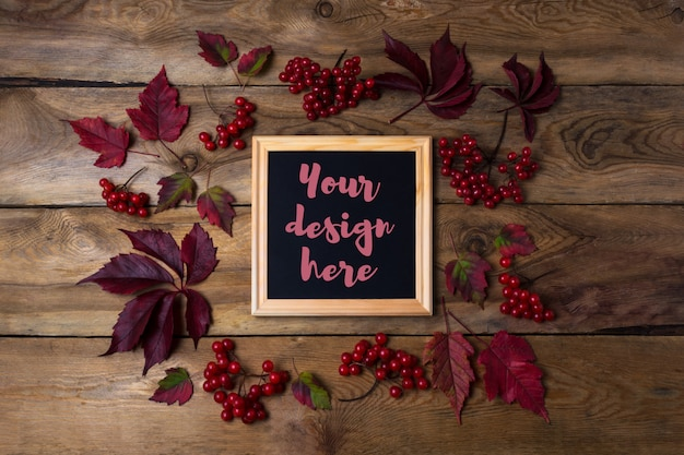 Rustic square frame mockup with viburnum berries