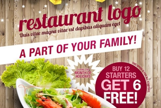 Rustic style flyer for restaurant