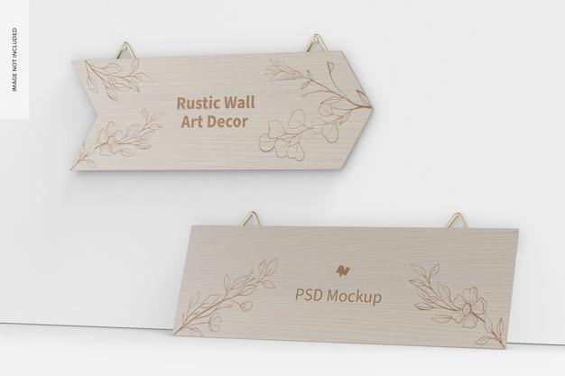 素朴な壁の芸術の装飾のモックアップ、傾いた