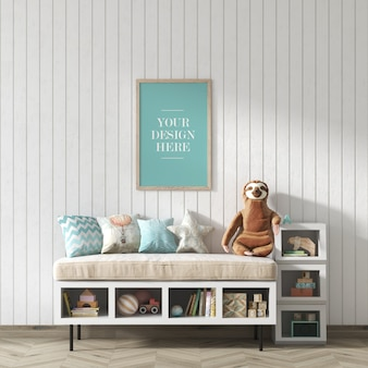 Rustic wall frame mockup in children's room with seat and shelves