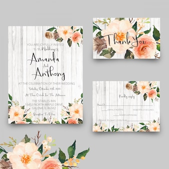 Rustic wedding invitation cards and rsvp thank you card