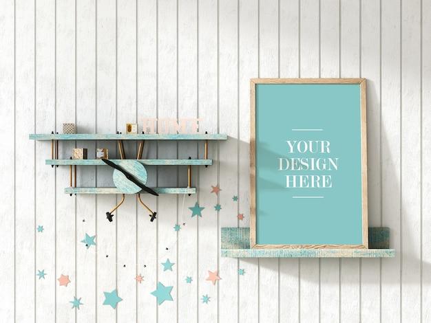 Rustic wood frame mockup with airplane shelf on wall