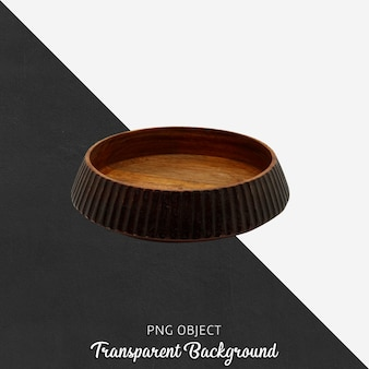 Rustic wooden decorative object on transparent