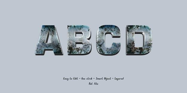 Rusty metallic letter effect template psd