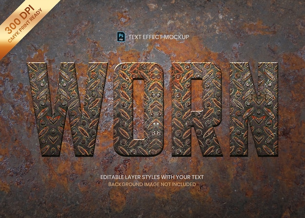 Rusty worn metal text effect template