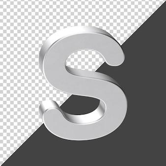 S письмо из серебра в 3d-рендеринге 3d реалистичная буква s