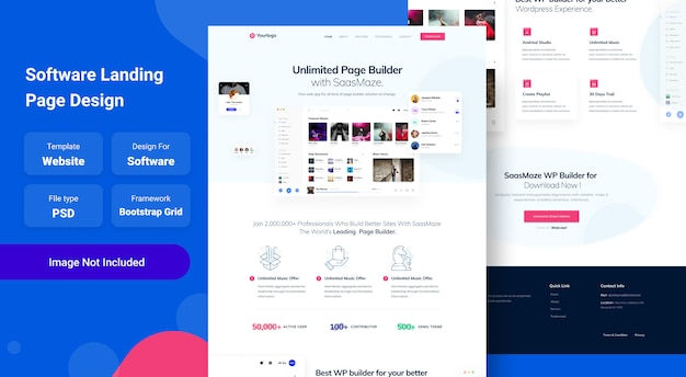 Saas app and software landing page web template