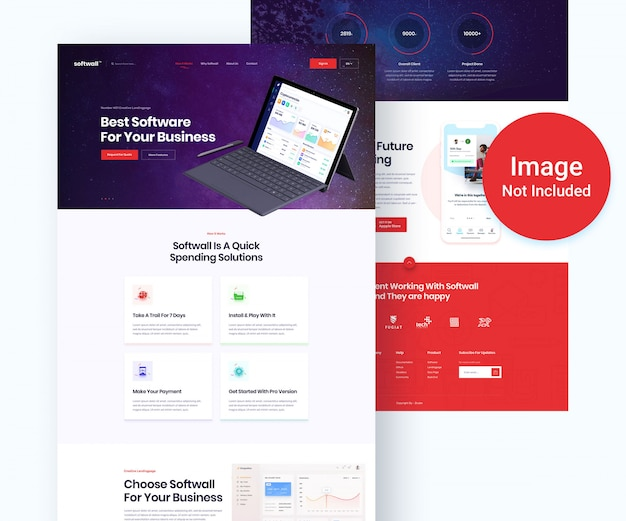 Saas and software business psd template