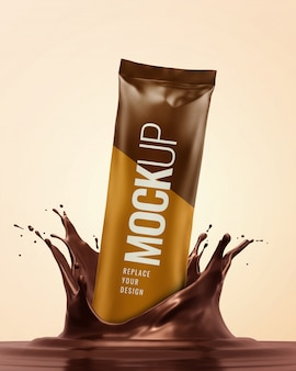 Sachet drop splashing mockup advertising realistic