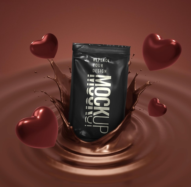 Sachet mockup for chocolate sweets with heart shapes