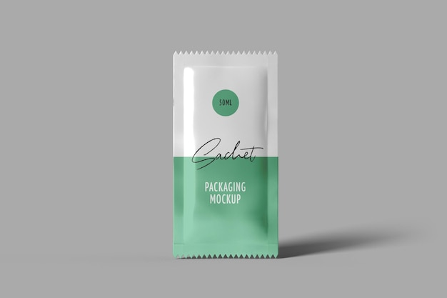 Sachet packaging mockup front view isolated