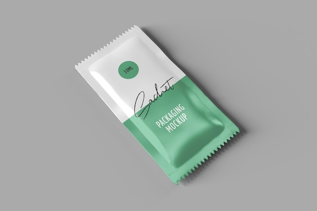 Sachet packaging mockup perspective view