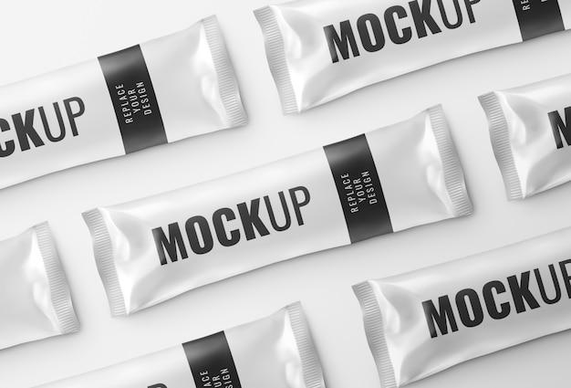 Sachet snack bar mockup rendering