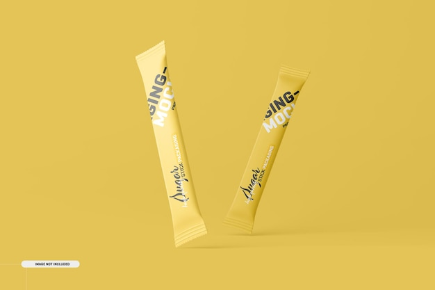 Sachet stick packaging mockup