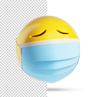Sad emoji with a medical mask, 3d