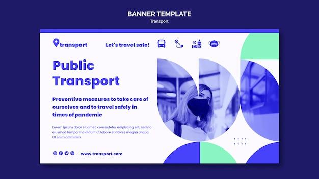 安全な公共交通機関の水平バナーテンプレート