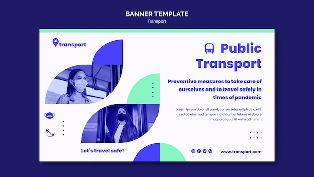 安全な公共交通機関の水平バナー