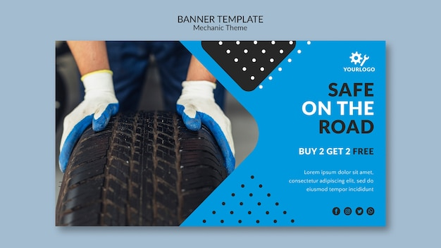 Safe on the road auto shop banner template