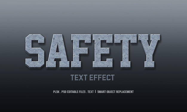Safety 3d text style effect mockup