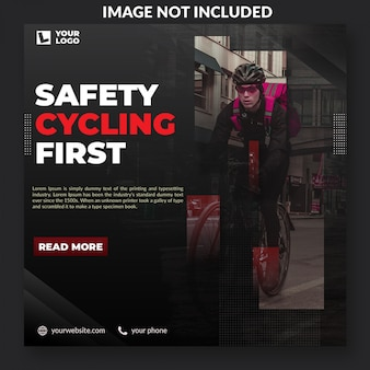 Safety cycling campaign social media post template