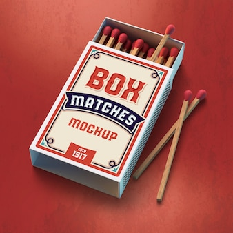 Safety matches box mockup