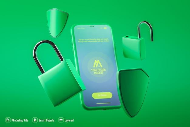Макет мобильного приложения безопасности, изолированные на зеленом фоне