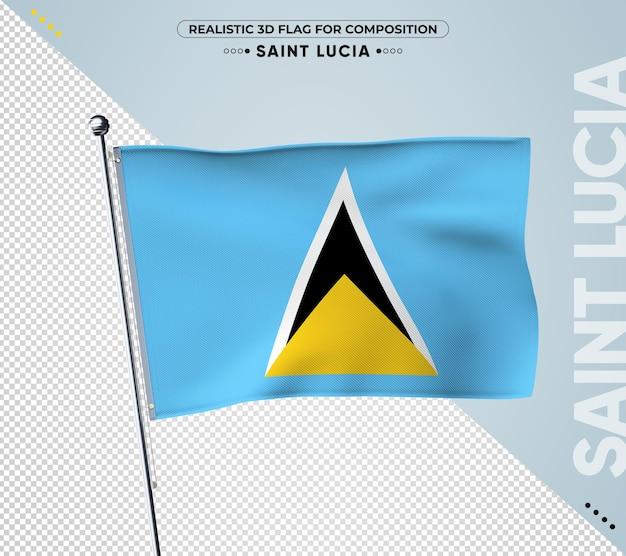 현실적인 스타일으로 세인트 루시아 국기