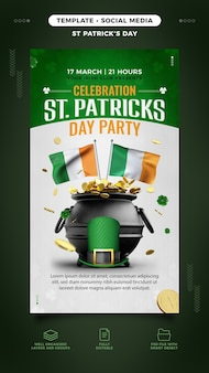 Saint patrick's day flyer template for instagram story