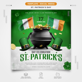 Saint patrick's day flyer template for social media