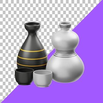 Саке 3d иллюстрация