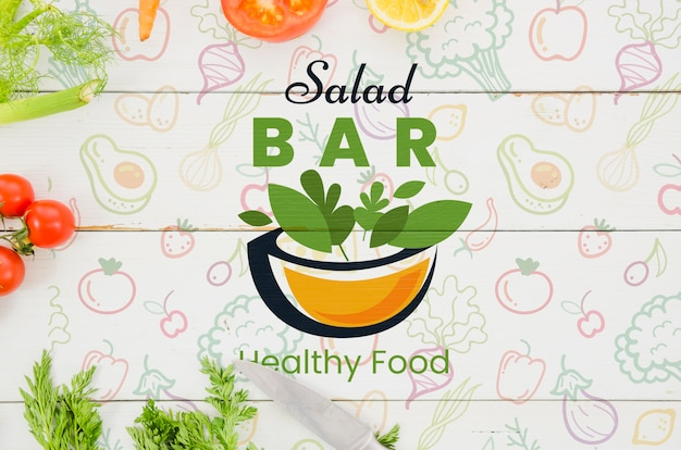 Salad bar menu with fresh vegetables