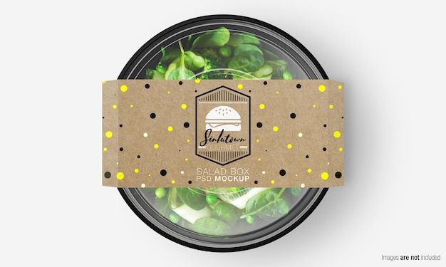 Salad box mockup with paper cover on green salad