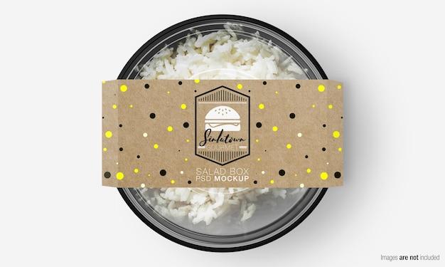Мокап коробки для салата с бумажной крышкой на рисе