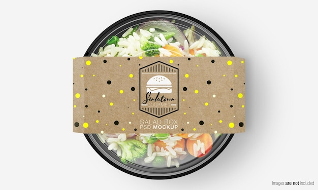 Мокап коробки для салата с бумажной крышкой на овощном рисе