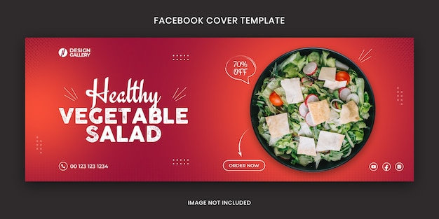 Salad web and social media fast food restaurant cover banner template