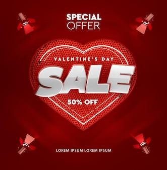 Sale in 3d rendering for valentine's day mockup