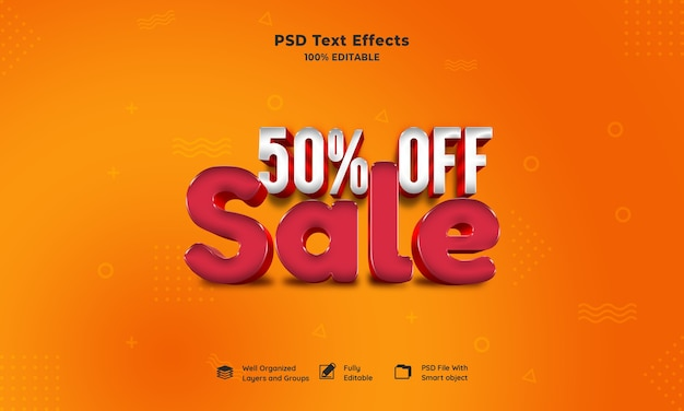Sale 3d text effect