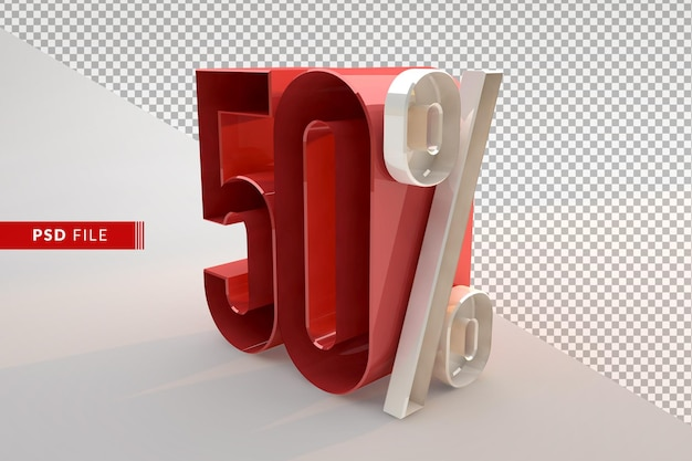 Sale 50 percent off promotional 3d isolated concept