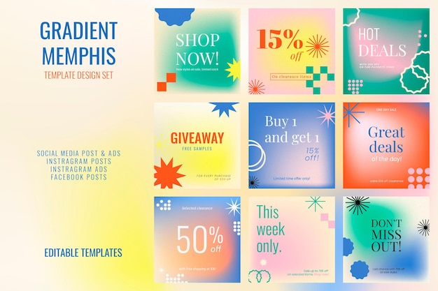 Sale abstract memphis template psd social media post set