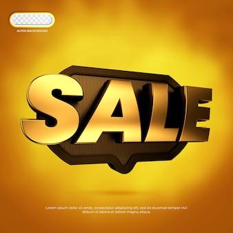 Sale banner 3d render premium psd