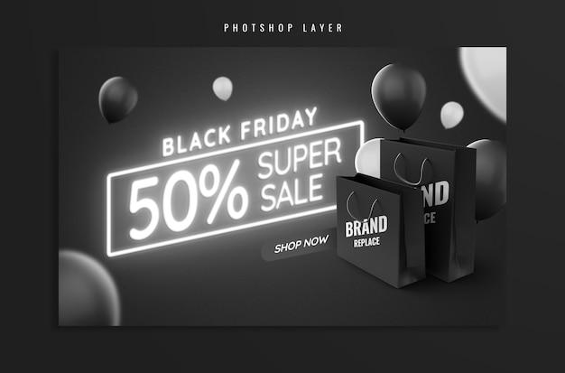 Sale banner black friday neon and bag mockup